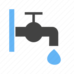 droplet, opened, tap, water icon