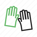 clothing, garden, gardening, gloves, green, hand, work icon