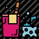 bucket, cleaning, housekeeping, sponge icon
