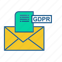 email, gdpr, letter, mail, padlock, secure icon