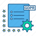 file, gdpr, gear, setting icon