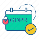 calender, gdpr, secure, security icon