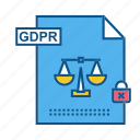 gdpr, justice, page, secure, security icon