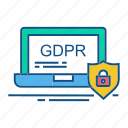 gdpr, laptp, protection, secure, security icon