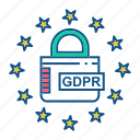 gdpr, lock, locked, secure, security icon