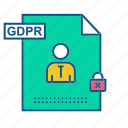 gdpr, lock, secure, security, user icon