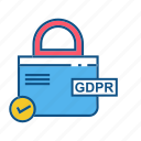 gdpr, locked, secure, security icon