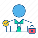 gdpr, locked, secure, security, user icon