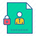 file, gdpr, secure, security, user icon