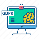 gdpr, secure, security, world icon