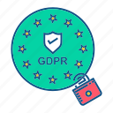 gdpr, lock, secure, user icon