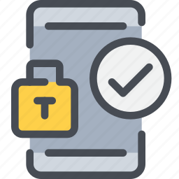 gdpr, mobile, padlock, secure, security, smartphone icon