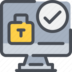 check, computer, gdpr, padlock, secure, security icon