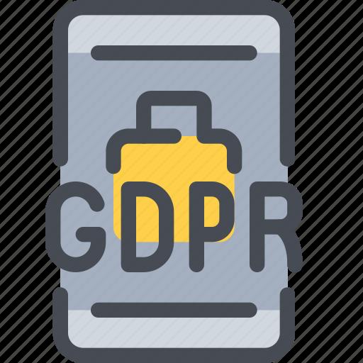 eu, gdpr, mobile, padlock, secure, security, smartphone icon