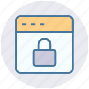 browser, gdpr, internet, lock, security, webpage, website icon