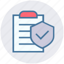 accept, checkmark, clipboard, document, list, secure, shield