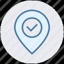 accept, checkmark, location, map, marker, navigation, pin icon