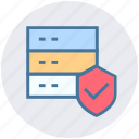 database, protection, secure database, security, server, shield, storage icon