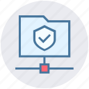 accept, connection, data, folder share, secure, security, shield icon