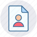 documents, file, home page, man, page, sheet, user icon