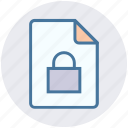 documents, file, lock, page, safe file, security, sheet icon
