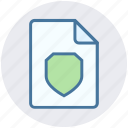 documents, file, page, secure, security, sheet, shield icon