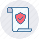 document, file, page, paper, protection, secured, shield icon