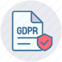 accept, document, gdpr, page, protection, security, shield icon