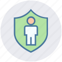 man, personal security, privacy, safe, security, shield, user icon