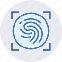 biometric, data, detect, fingerprint, recognition, scan icon