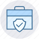 accept, bag, bag safety, briefcase, portfolio, security, shield icon