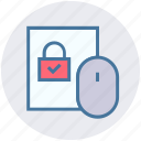accept, click, lock, mouse, pointer, security icon
