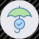 accept, insurance, protection, rain, security, success, umbrella icon