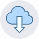 arrow, cloud, cloud computing, cloud network, down, download, storage icon