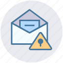 document, envelope, lock, paper, security, warning icon