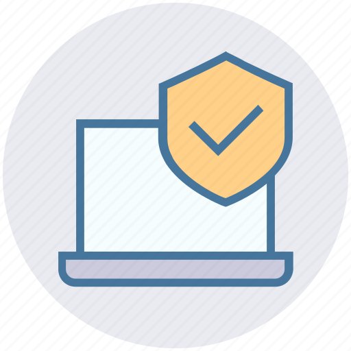 accept, laptop, notebook, privacy, secure, shield icon