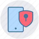 lock, mobile, phone, protection, security, shield, smartphone icon