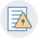 list, lock, paper, privacy, shield, warning icon
