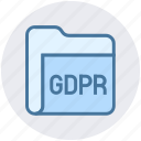 data, eu, file, folder, gdpr, secure, security icon