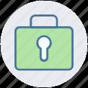 bag, business, lock, password, portfolio, safe bag icon