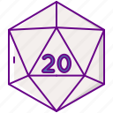 d&d, d20, dice, game icon