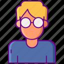 boy, geek, glasses, man icon