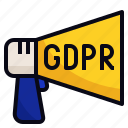 announcement, data, gdpr, law, protection icon