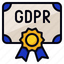 certification, compliance, gdpr, protection icon