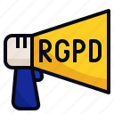 announcement, data, law, protection, rgpd icon
