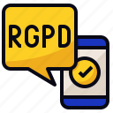 app, mobile, regulation, rgpd icon