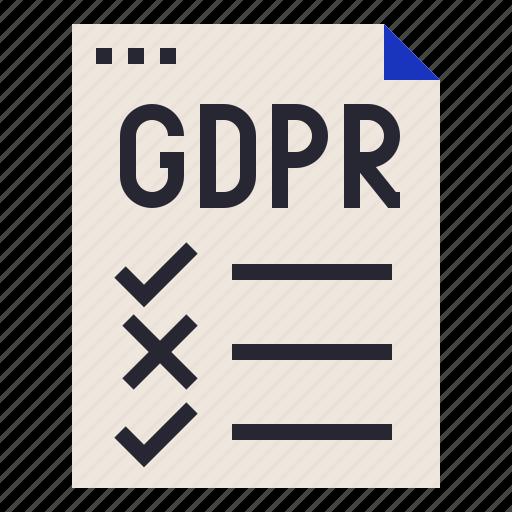 checklist, compliance, gdpr, regulation icon