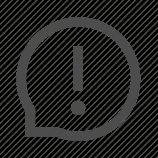 alert, bubble, chat, communication, message, warn, warning icon