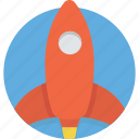 cartoon, launch, rocket, space, start, travel, up icon