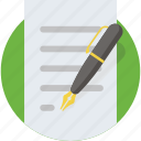 creative, letter, paper, pen, text, write, writing icon